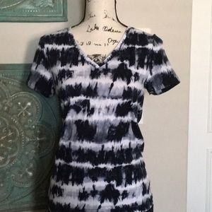 Michael Kors Blue & White Tye Dye Top